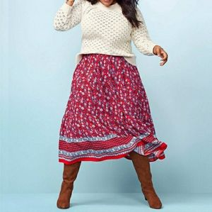 LOFT Boho Floral Tiered Skirt in Strong Red L